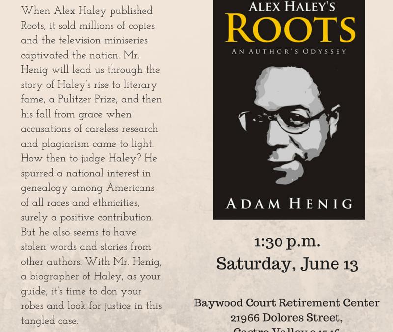 Book Talk in Castro Valley date change, 6/13