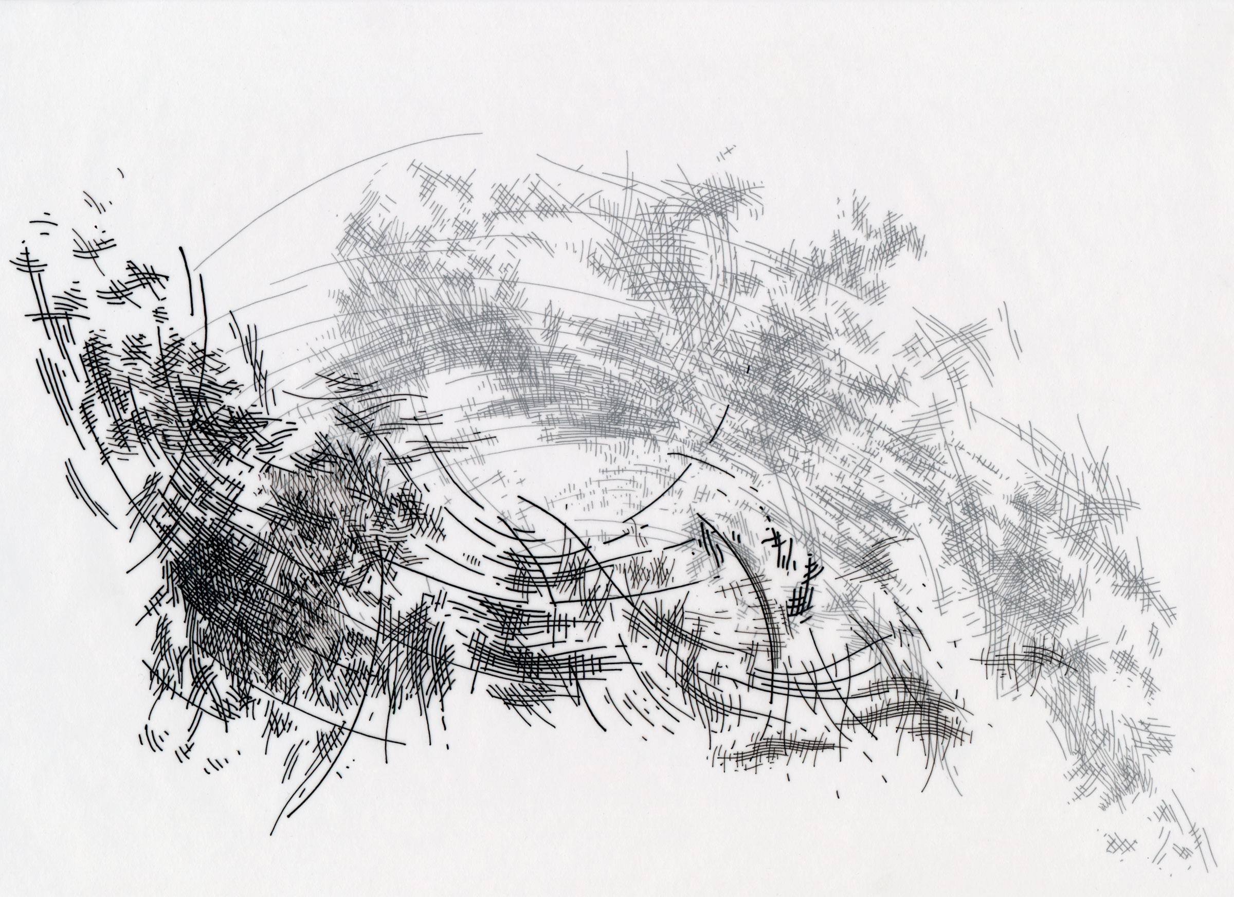 """Session Drawing 7, Pen and Ink on Vellum, 9"""" x 12"""", 2012"""