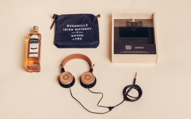 elijah-wood-zach-cowie-bushmills-irish-whiskey-bottle-grado-labs-headphones