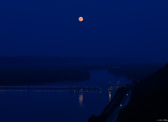 Full moon after sunset from the top of the bluff - John A. Latsch State Park