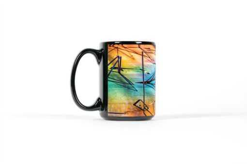 Left side view of black mug with colorful reflections in a pond