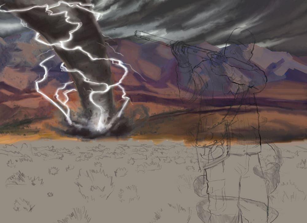 First pass of the mountain painting on the Consequence book cover by Adam Miconi