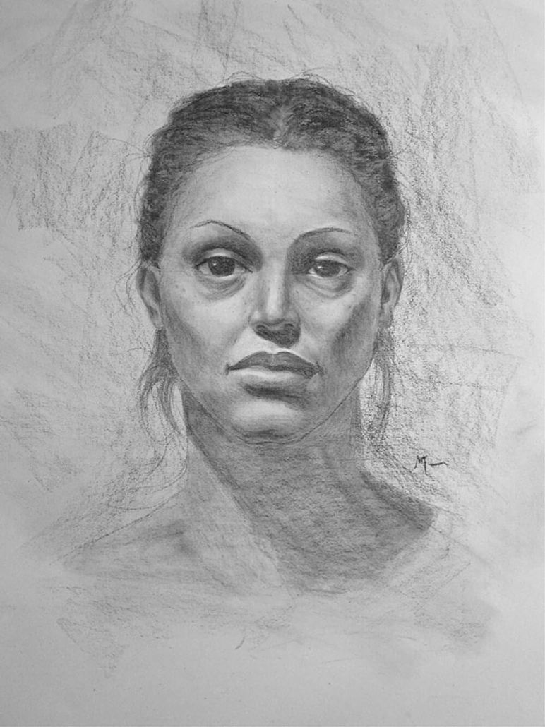 Female face charcoal portrait drawing study by Adam Miconi