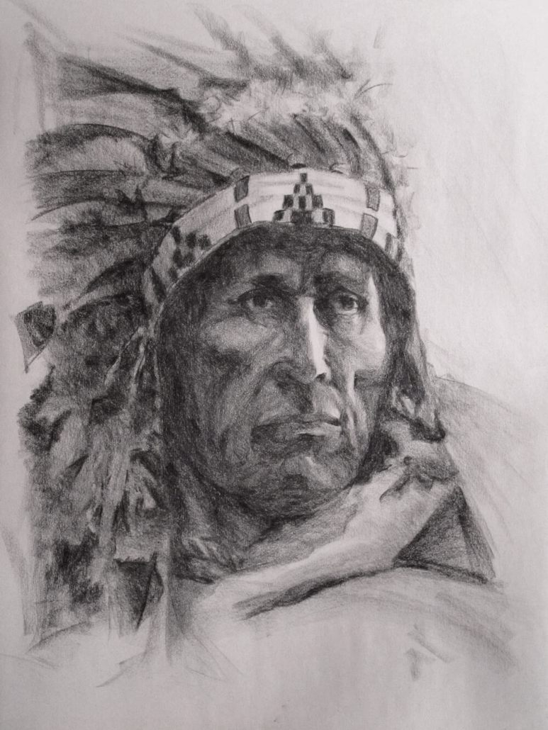 Howard Terpning charcoal master drawing study by Adam Miconi