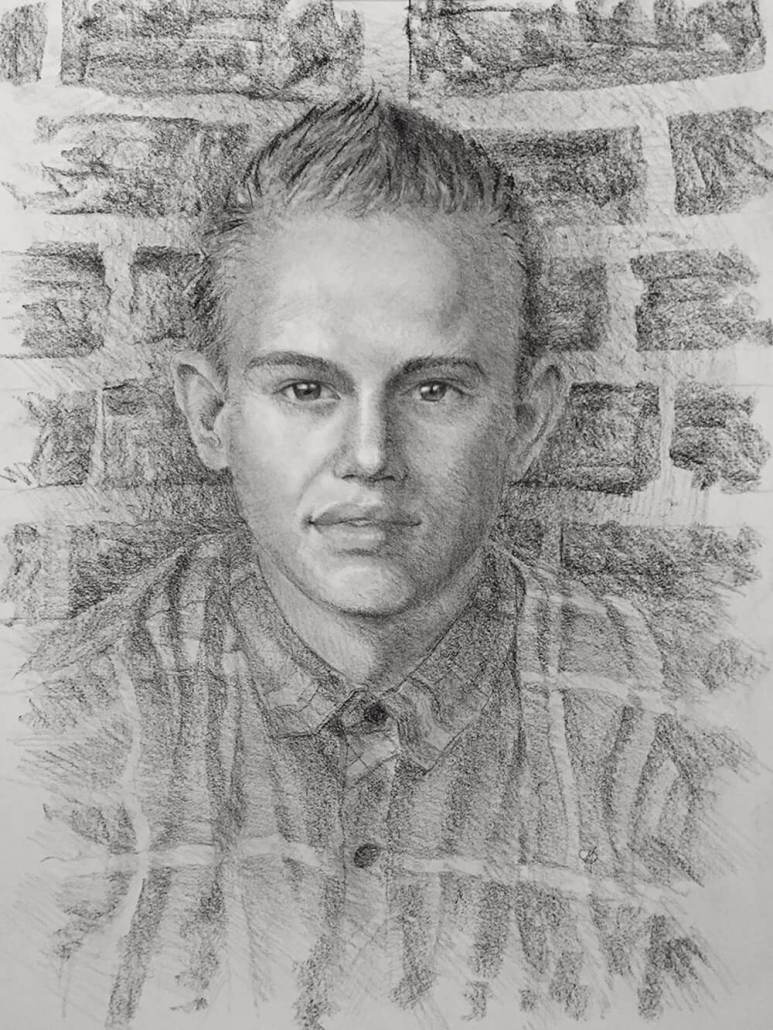 Jake Holman charcoal portrait drawing by Adam Miconi