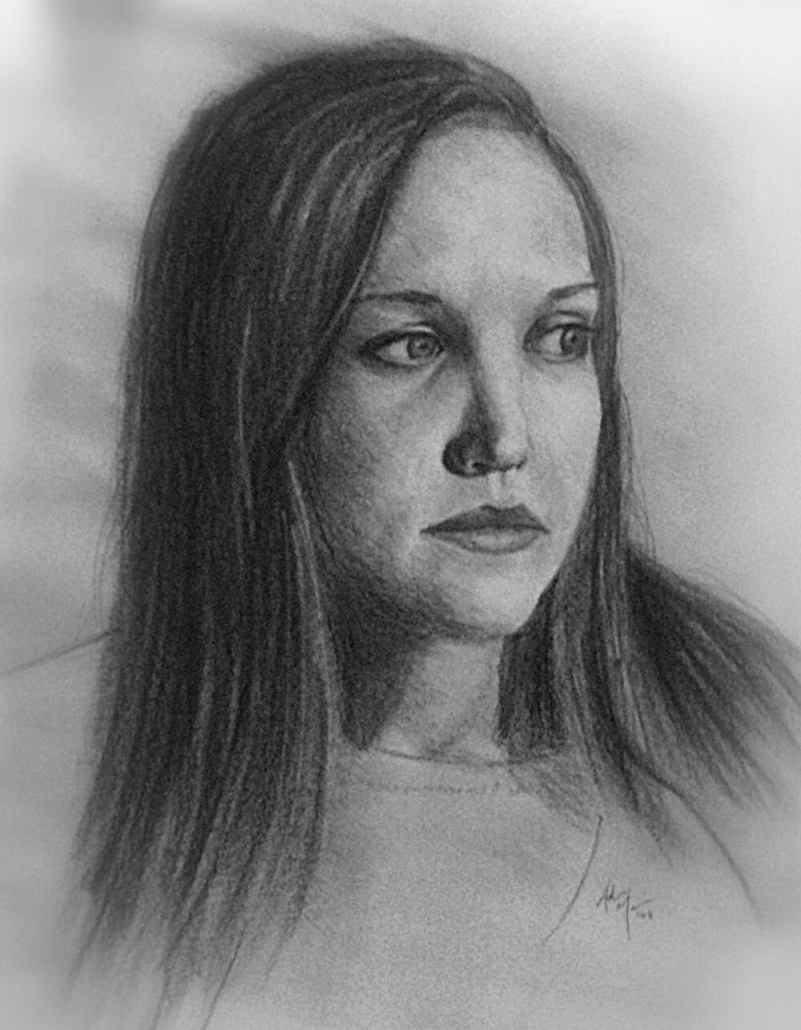 Melinda Miconi charcoal portrait drawing by Adam Miconi