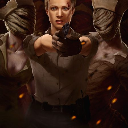 Silent Hill digital painting with Cybil and nurses by Adam Miconi