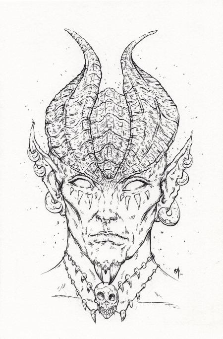 Horned Elf Prince Drawing by Adam Micoi