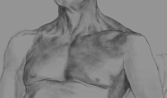 Close up of a male chest drawn in digital charcoal