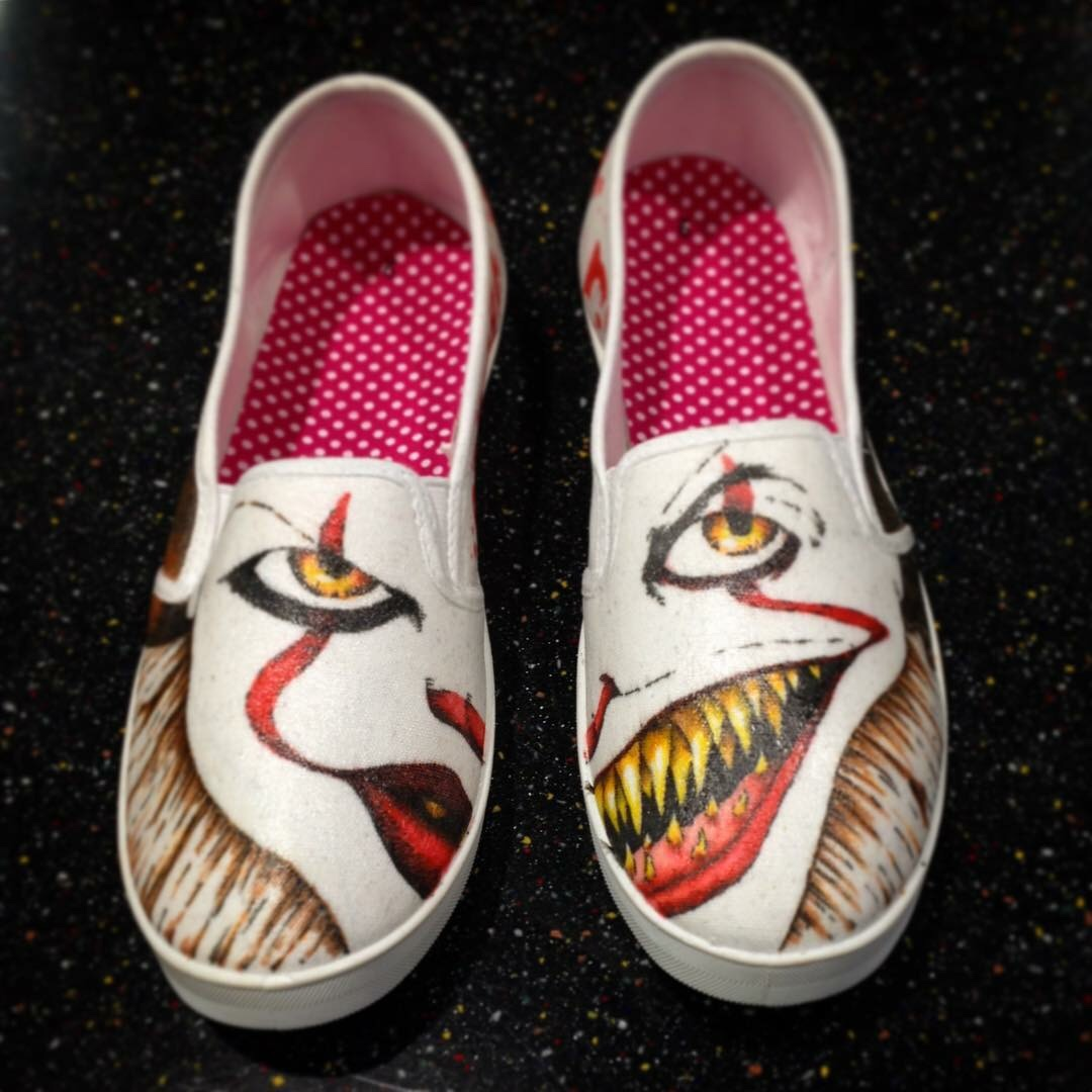 Custom Drawn Pennywise IT Shoes