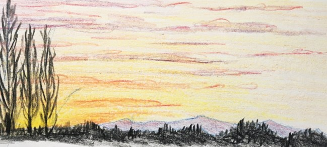 Winter sunset sketch from the north of England, UK