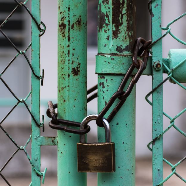 Green Chainlink Fence with Lock