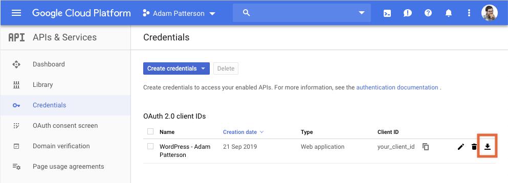 Google Site Kit - Google Cloud - Download Configuration File.
