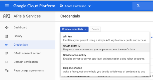 Google Site Kit - Google Cloud - Credentials - OAuth Client ID