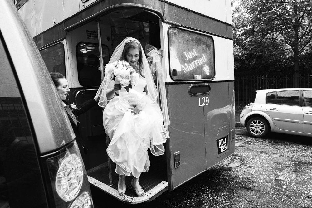 bride wedding bus