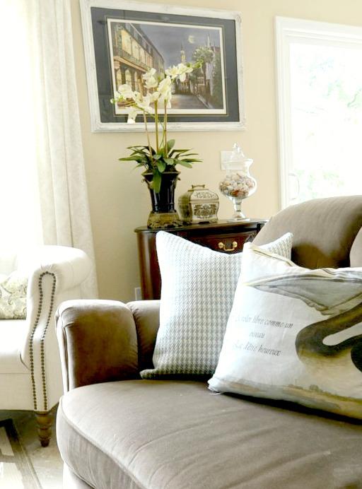 Arhaus Sofa With Coastal Pillows