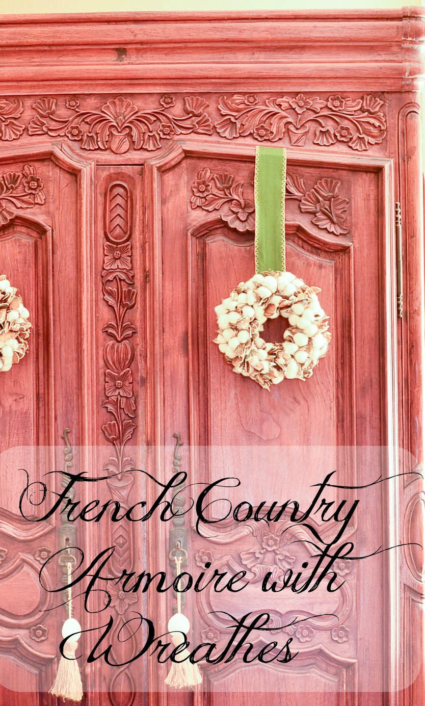 French Furniture Armoire Cotton Wreathes on doors with ribbons