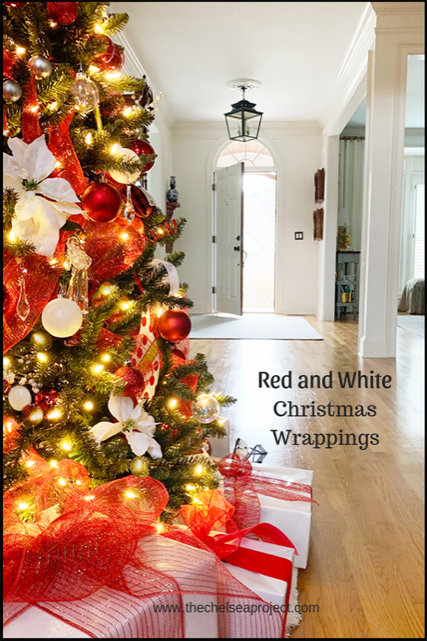 Red-and-White-TreePinterest Easy Vintage Dresser Gift Wrap Station Christmas Holidays