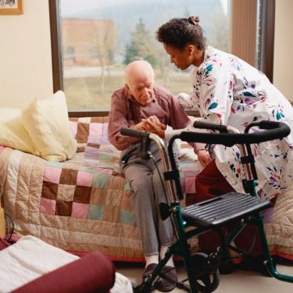 elder woman with nurse