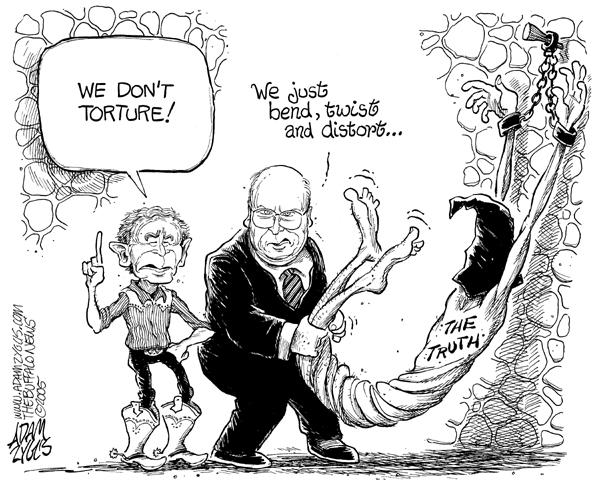 Bush, Cheney, and torture, cartoon