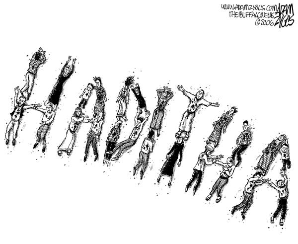 Massacre by US soldiers of Iraqi civilians in Haditha, cartoon