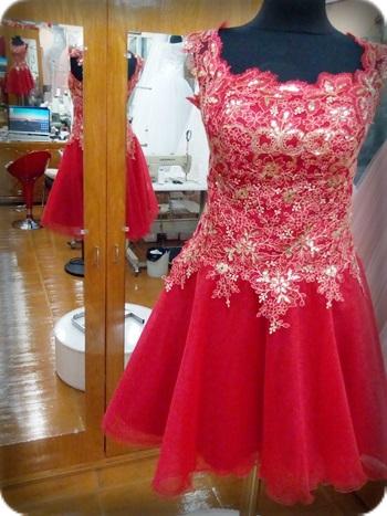 Simli Kırmızı kına kıyafeti