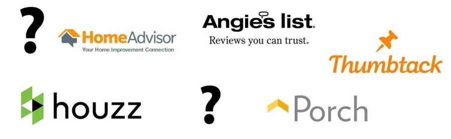 Homeadvisor vs Angie's List vs Houzz vs Porch vs Thumbtack vs Yelp