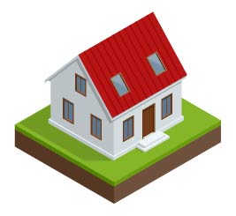 Illustration of a house with windows installed.