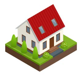 An illustration of a house with landscaping.