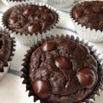 Closeup of a Flourless Double Chocolate Chip Zucchini Muffins