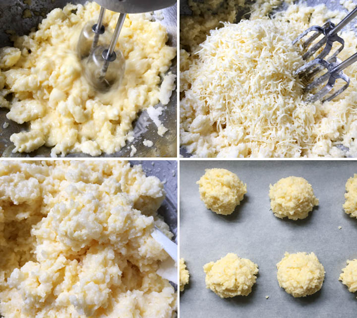 Beating cheese into sticky dough, how to make Brazilian Cheese Bread
