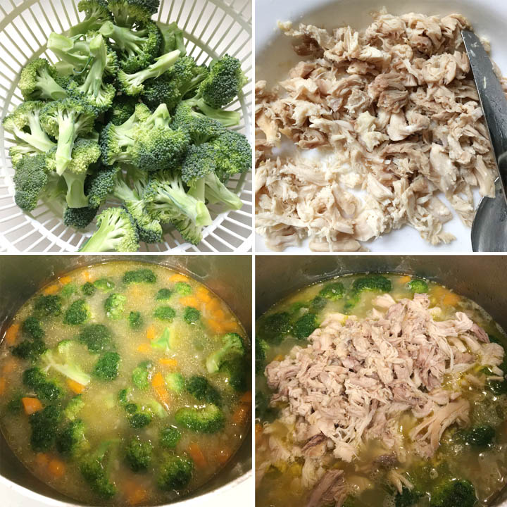 Chopped raw broccoli and shredded chicken for chicken vegetable soup