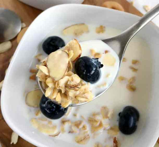 A spoonful of nutty granola, a blueberry, and milk