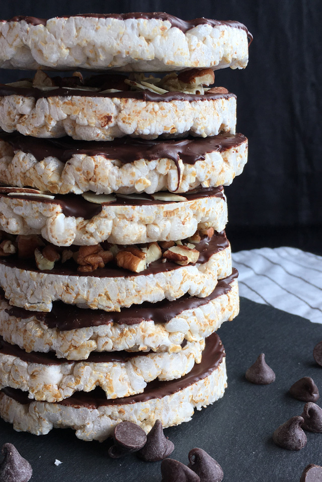 A stack of 8 chocolate coated rice cakes