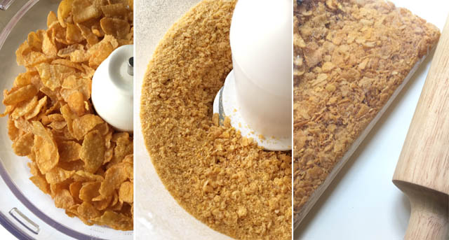 Three photos: left photo cornflakes cereal in a food processor bowl, middle photo cornflakes crumbs in a food processor bowl, right photo cornflakes in a plastic ziploc bag next to a rolling pin