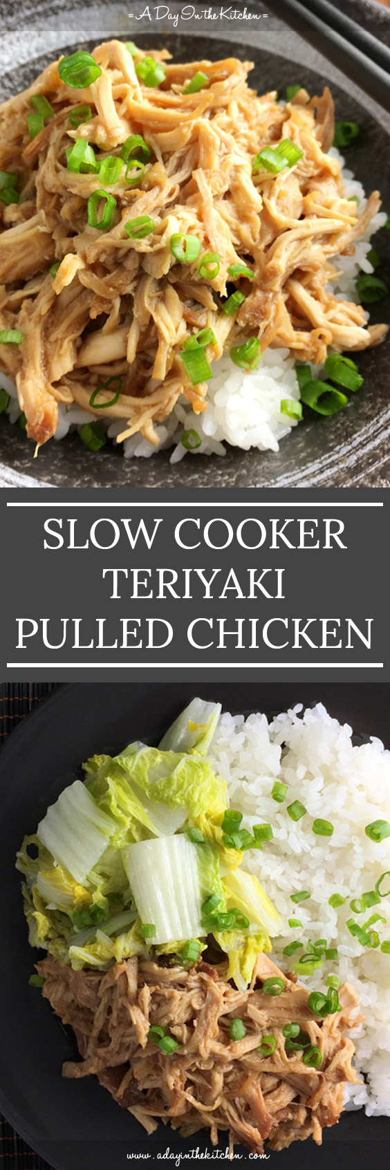 This tasty Slow Cooker Teriyaki Pulled Chicken is perfect for that weeknight meal when you're short on time to prepare dinner. Let the slow cooker do the cooking for you! #slowcooker #teriyakichicken #chicken #slowcookerchicken