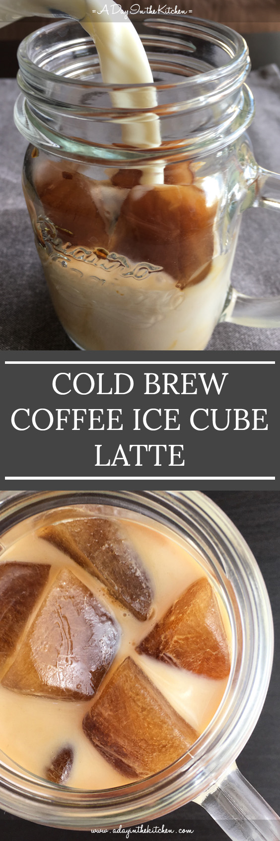 Want iced coffee that doesn't get watered down as it nears the bottom of the glass? Cold-Brewed Coffee Ice Cube Latte will become your favorite iced coffee! #coldbrew #coffee #latte #icedlatte #coffeecubes