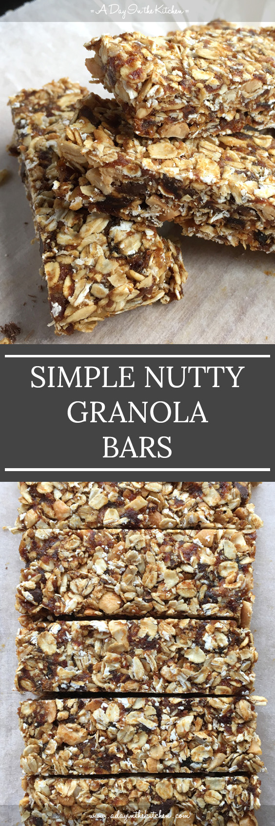Simple Nutty Granola Bars have no refined sugar and don't require baking for them to set. Easy to make and tasty to eat, they make the perfect snack! #simplenuttygranolabars #granolabars #nobakegranolabars #granola #chocolatechips