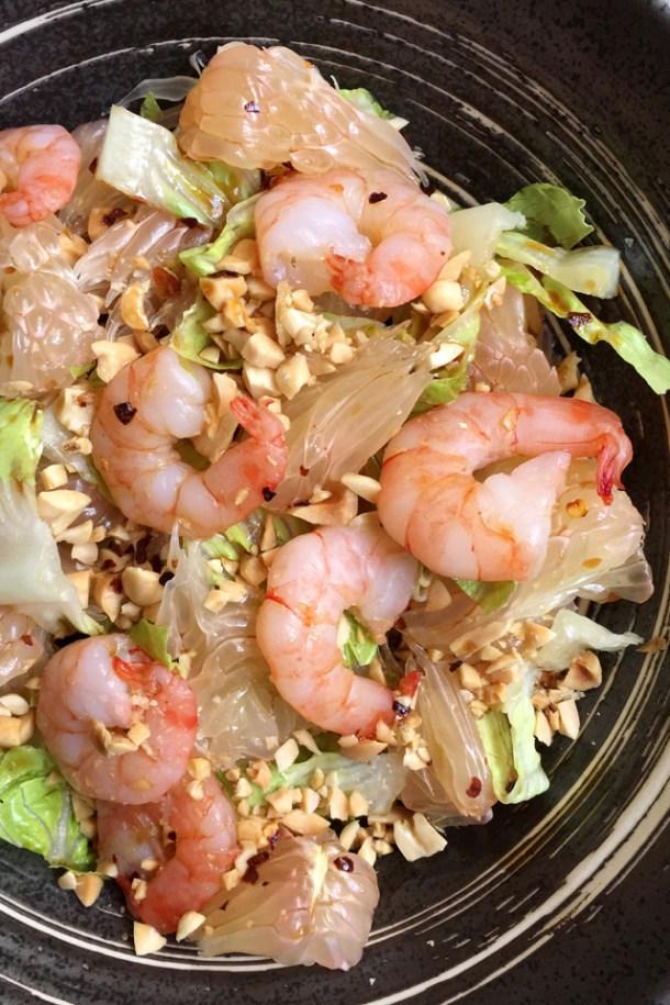 Close-up of a bowl of Prawn Pomelo Salad