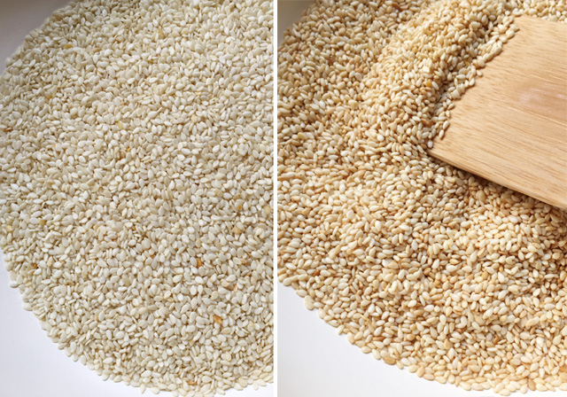 Two images in one, cream colored sesame seeds on the left, brown toasted sesame seeds on the right for Easy Homemade Tahini.
