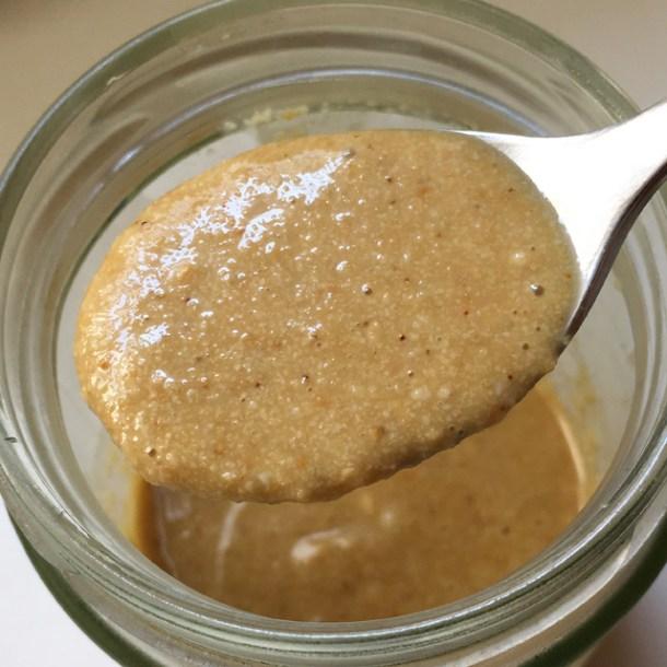 A spoonful of Easy Homemade Tahini.