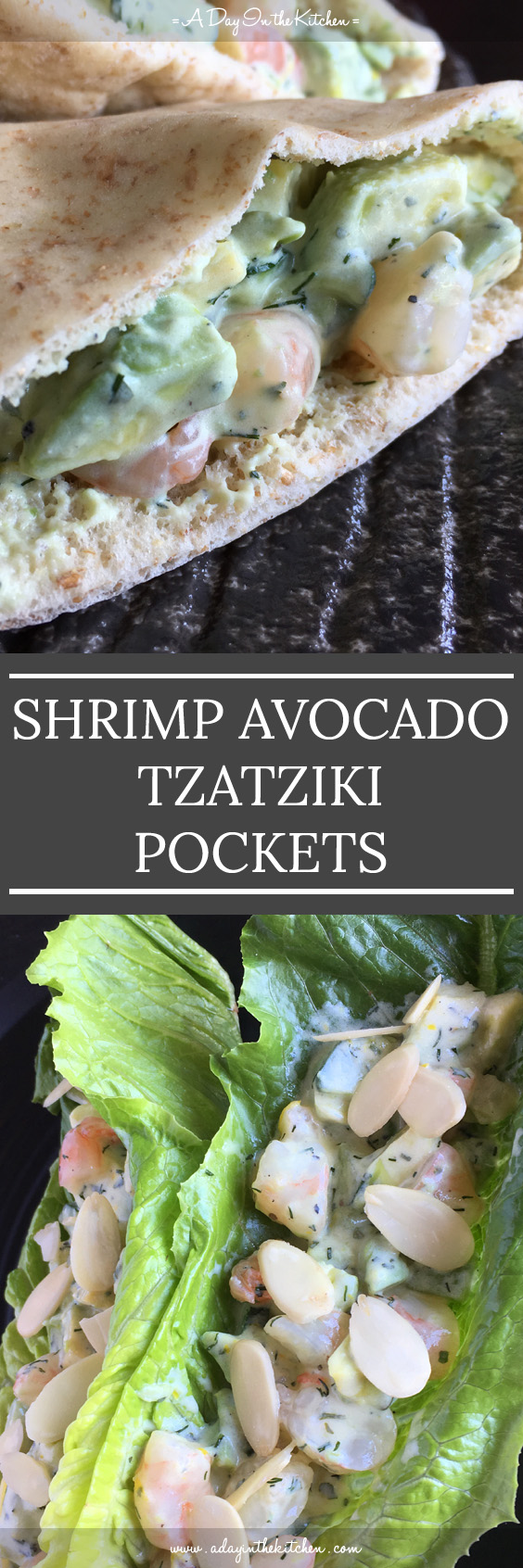 No matter what shape pocket you use, whether it's a pita, lettuce, or a cracker, Shrimp Avocado Tzatziki Pockets are full of texture and YUM. #shrimp #avocado #tzatziki #pitapockets #lettucewraps #shrimpavocadotzatziki #shrimpavocado