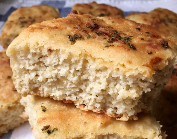 A pile of garlic herb cheese rolls
