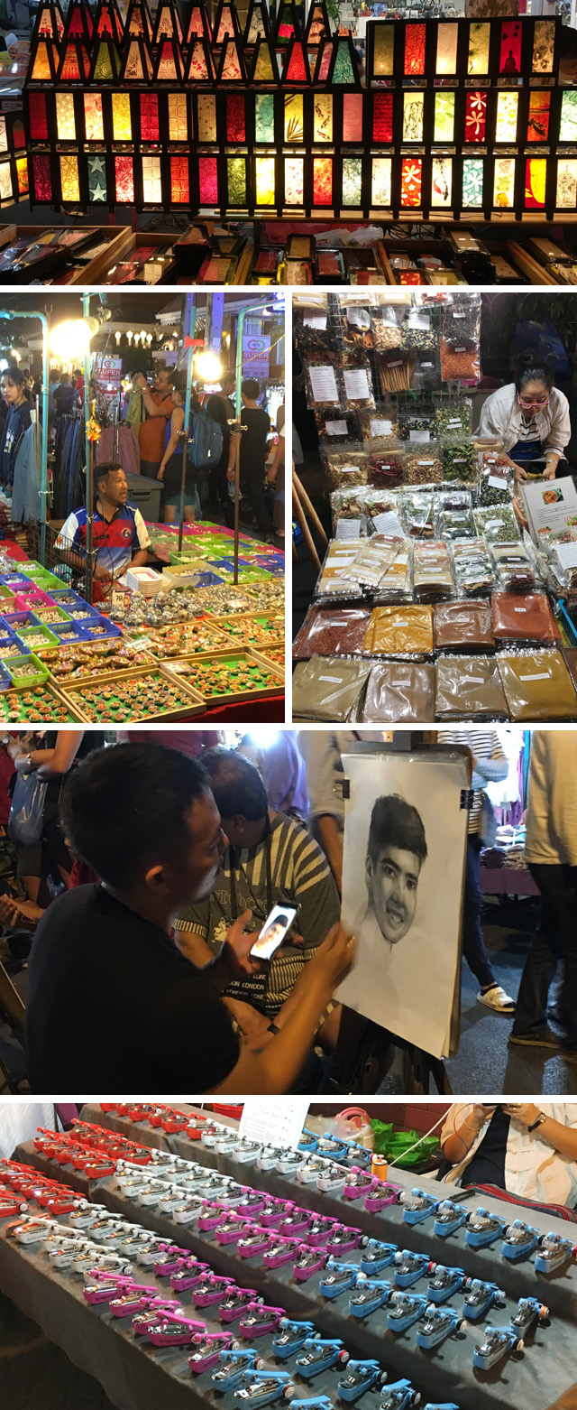 A collage of photos showing what locals are selling at the Sunday Night Market in Chiang Mai