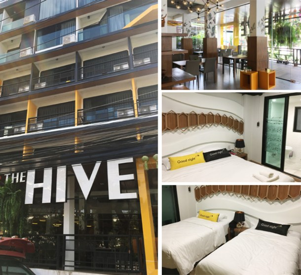 A collage of photos of The Hive Hotel in Chiang Mai showing the hotel exterior, the dining area, and the bedrooms