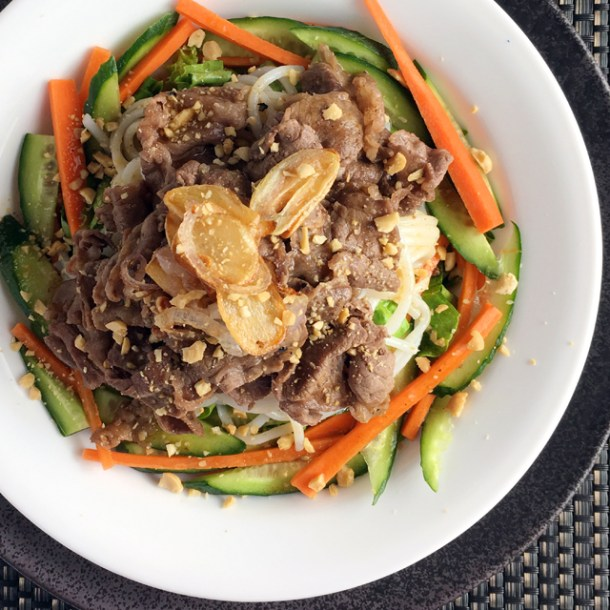 A round white dish containing Savory Vietnamese Beef Vermicelli