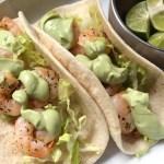 Garlic Shrimp Tacos with Avocado Crema