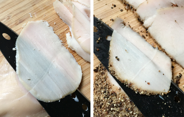 An image on the left showing a knife slicing regular roasted chicken, and an image on the right showing a knife slicing pepper crusted chicken for deli meat