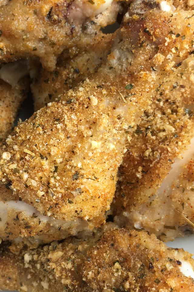 Close-up of shake n bake chicken drumstick