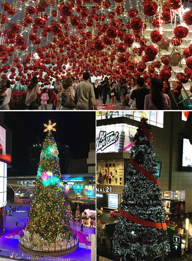 A crowd of people standing under many shiny red round Christmas balls, and two photos of brightly lit Christmas trees